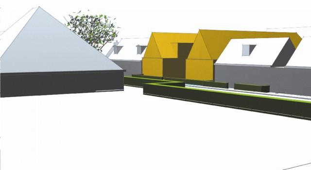 Ontwerp wooncomplex hofje den oever - straatzicht