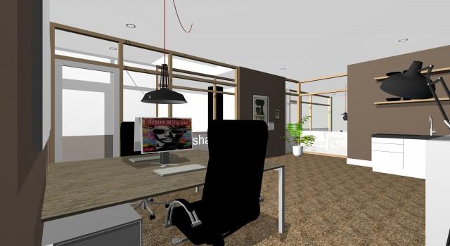 Verbouwing showroom tot 7 kantoor-units