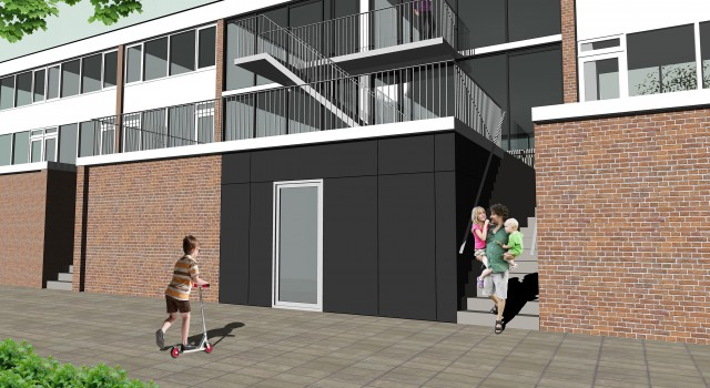 Verbouwing bankgebouw naar winkel met 4 appartementen