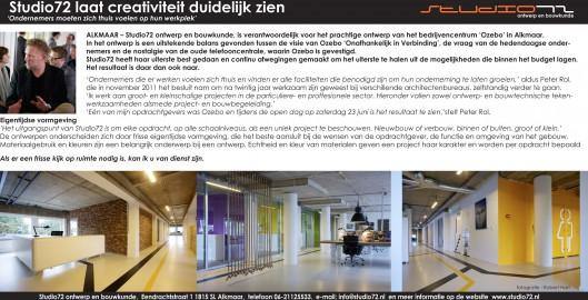 Studio72 in het nieuwsblad Zondagskrant regio Alkmaar 17 juni 2012, speciale bijlage De Telefooncentrale