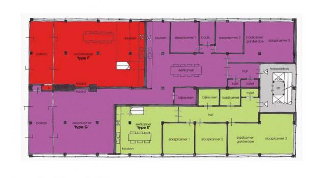 Plattegrond appartementen Weerd