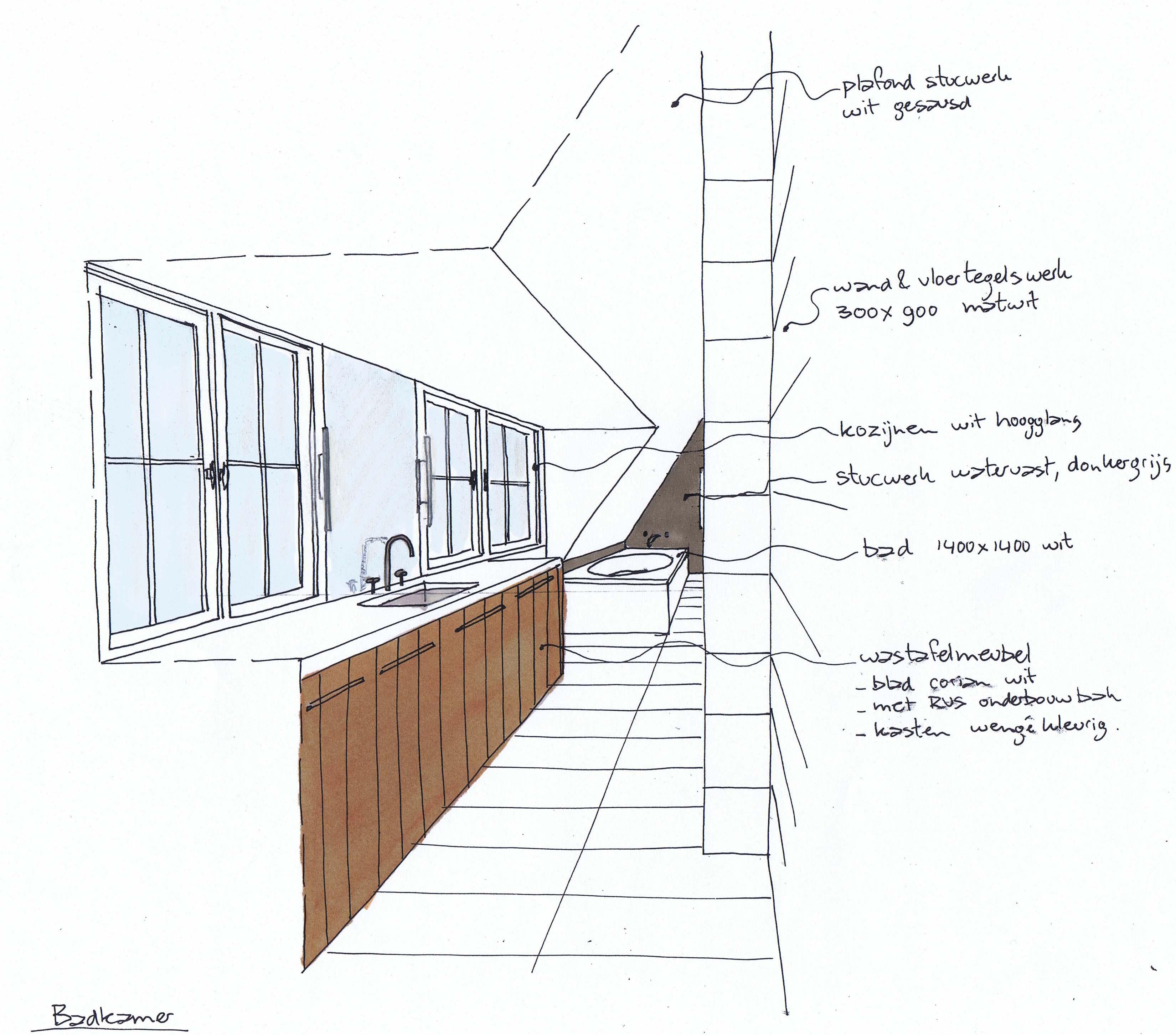 Schets boerderij heerhugowaard - badkamer - STUDIO72