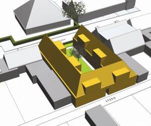 Ontwerp wooncomplex hofje den oever - vogelvucht achterzijde