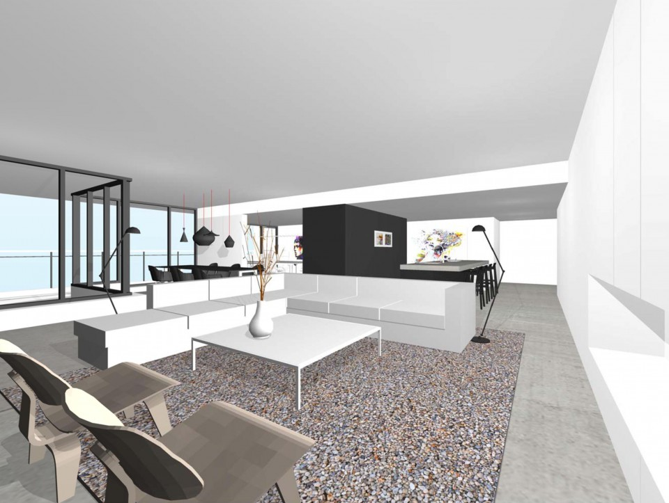 design interieur penthouse ontwerp architect 3d fraai modern minimalistisch studio72. Black Bedroom Furniture Sets. Home Design Ideas