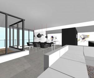 design interieur penthouse, ontwerp , architect, 3d, fraai, modern, minimalistisch